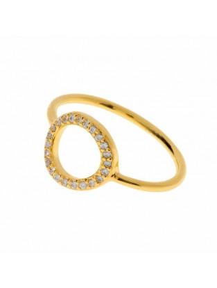 Leaf Ring 'Circle of Life' Zirkonia vergoldet
