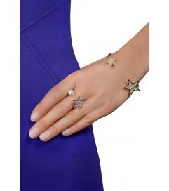 Ring mit Stern & Perle vergoldet
