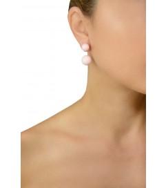 Ohrring mit zwei Perlen rosa