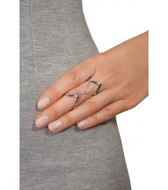 Doppelter Ring mit Kette silber