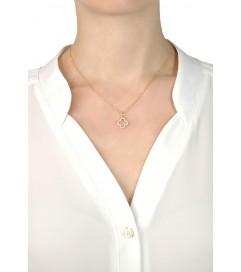 Leaf Halskette 'Kleeblatt' Silber vergoldet