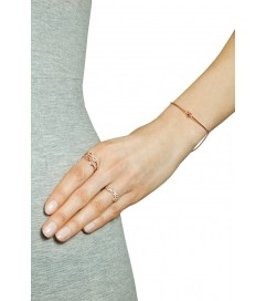 Leaf Ring 'LOVE' mit Zirkonia rosé vergoldet