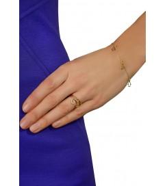 Leaf Ring mit Anhänger 'Stern' vergoldet