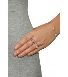Leaf Ring mit Anhänger 'Peace' silber