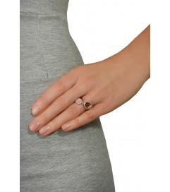 Leaf Ring rosé vergoldet Rauchquarz
