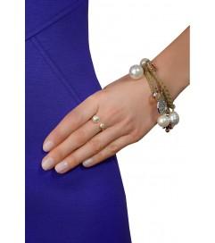 Leaf Ring mit Perlen vergoldet