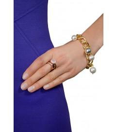 Ring mit ovalem Schmuckstein bronze