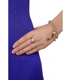 Ring mit Zirkonia und Perle rosé vergoldet