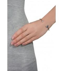 Armspange 'Pfeil' mit Zirkonia schwarz