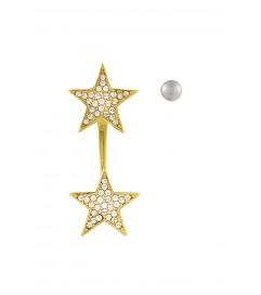 Ohrring mit Stern und Perle vergoldet