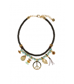 Kette 'Peace' Leder braun/türkis