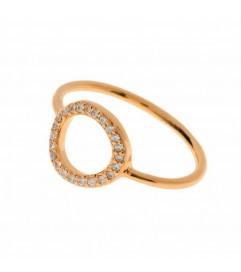 Leaf Ring 'Circle of Life' Zirkonia rosé vergoldet