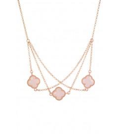 Halskette 'Kleeblatt Triple' rosa rosé vergoldet