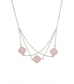 Halskette 'Kleeblatt Triple' rosa silber