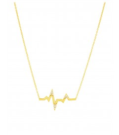 Halskette 'Heartbeat' mit Zirkonia Silber vergoldet