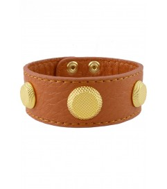 Lederarmband 'Gold Studs' camel/orange