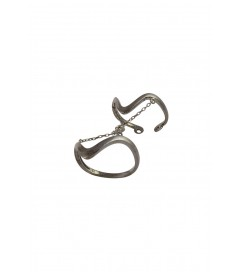 Doppelter Ring mit Kette anthrazit