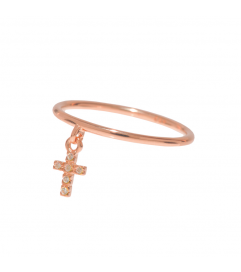 Leaf Ring mit Anhänger 'Kreuz' rosé vergoldet