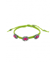 Makramee Armband hellgrün/pinke Steine