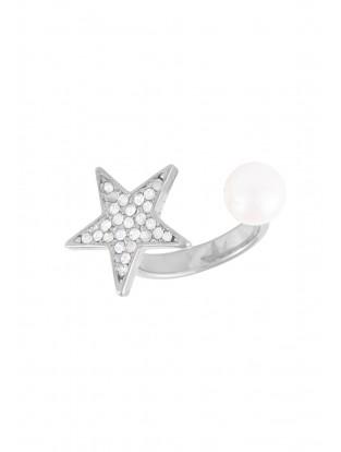 Ring mit Stern & Perle silber