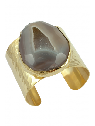 Armreif vergoldet mit Achat taupe-grau