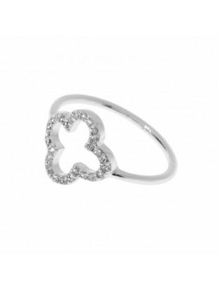 Leaf Ring 'Kleeblatt' Zirkonia silber