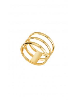 Kurshuni Ring 'Triple' vergoldet