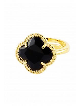 Ring 'Kleeblatt Simple' schwarz vergoldet