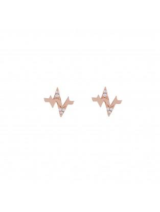 Ohrring 'Heartbeat' Silber mit Zirkonia rosé vergoldet