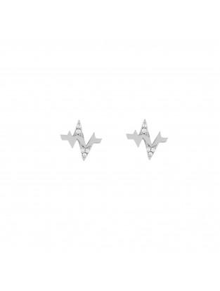 Ohrring 'Heartbeat' Silber mit Zirkonia