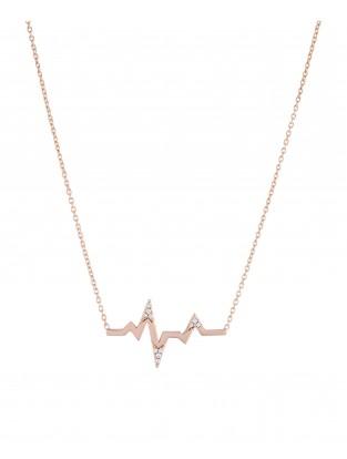 Halskette 'Heartbeat' mit Zirkonia Silber rosé vergoldet