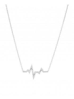 Halskette 'Heartbeat' mit Zirkonia Silber