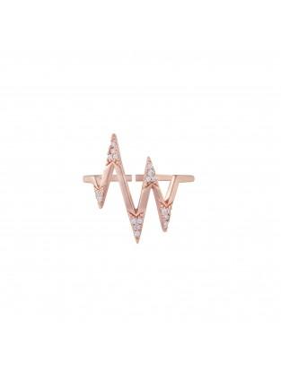 Ring 'Heartbeat' Silber mit Zirkonia rosé vergoldet