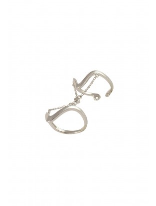 Doppelter Ring mit Kette silber