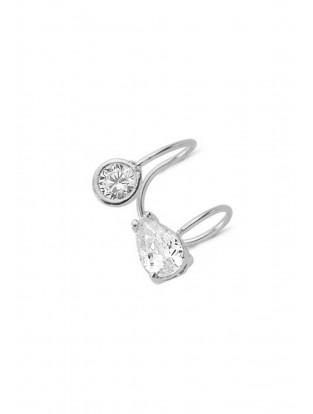 Amorium Mini Earcuff 'oval Stone' Silber
