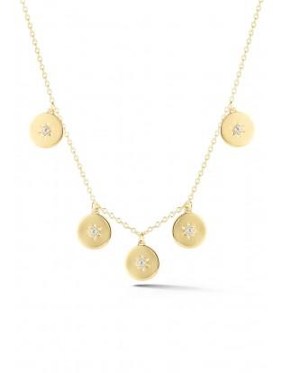 Halskette 'Plättchen mit Sternen' vergoldet