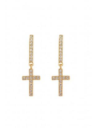 Kurshuni Ohrring 'Mini Kreuz' vergoldet