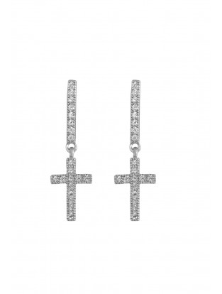 Kurshuni Ohrring 'Mini Kreuz' silber