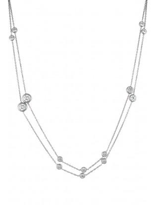 Kurshuni Halskette 'Round Stones' mit Zirkonia silber