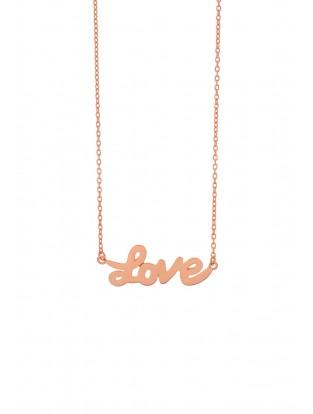 Leaf Halskette 'LOVE' rosé vergoldet