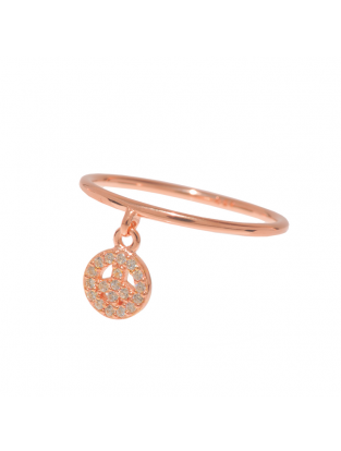 Leaf Ring mit Anhänger 'Peace' rosé vergoldet