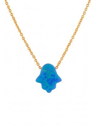 Halskette 'Blue Fatima Hand' rosé vergoldet