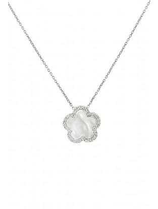 Halskette 'Perlmutt Blume' Silber