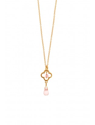 Leaf Halskette 'Lucky' Quarz vergoldet