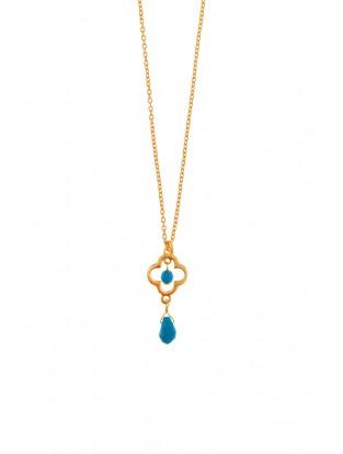 Leaf Halskette 'Lucky' Türkis vergoldet