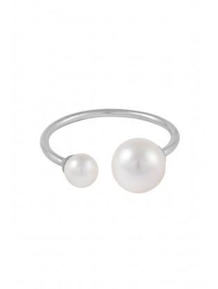 Leaf Ring mit Perlen Silber