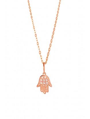 Leaf Halskette 'Fatima's Hand' rosé vergoldet