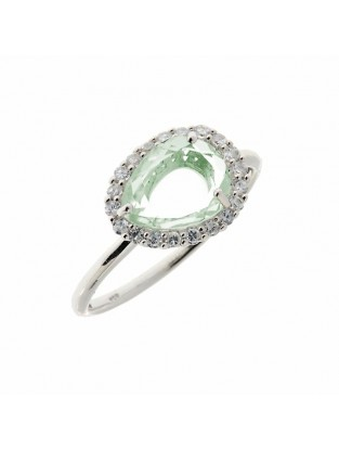 Leaf Ring silber grüner Amethyst