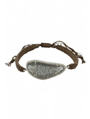Makramee Armband mit Bergkristall taupe/charcoal