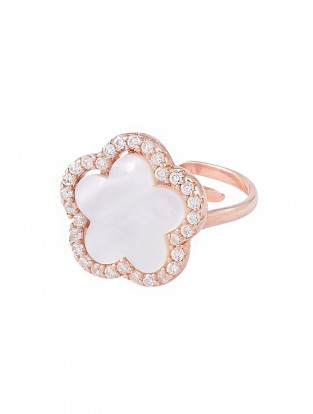 Ring 'Perlmutt Blume' rosé vergoldet